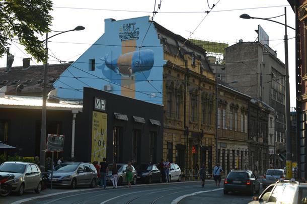 mural blue while
